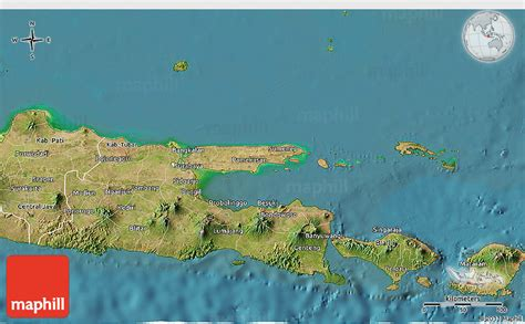 satellite  map  east java