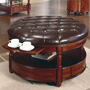 Round wicker ottoman for your living room home furniture for Sectional sofa round coffee table