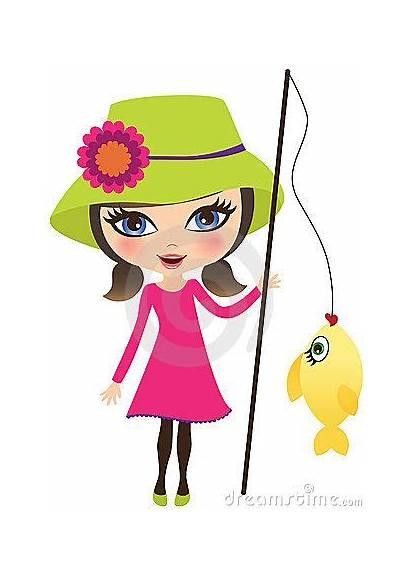 Fishing Clipart Woman Along Fish Summer Illustration