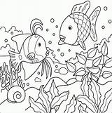 Coloring Fish Educative Tropical sketch template