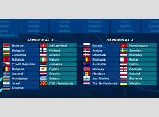 Eurovision 2018 The First Semifinal countries