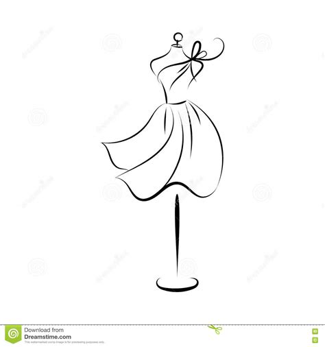 Kleurplaat Dummy by Dummy Dress Drawing Contour Stock Vector