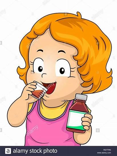 Medicine Kid Drinking Vitamins Bottle Holding Illustration