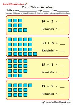 visual division worksheets  remainders aussie