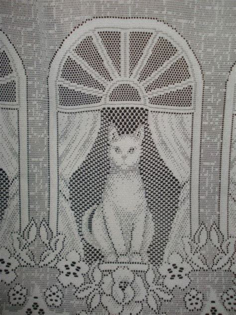 vintage white lace net cat curtain  wide panel cats