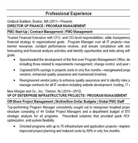 Director Resume Pdf by Program Manager Pmo Director Resume Pdf Free Sles Exles Format Resume Curruculum