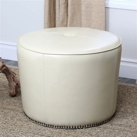 ottoman with nailhead trim abbyson living sienna round nailhead trim cream leather