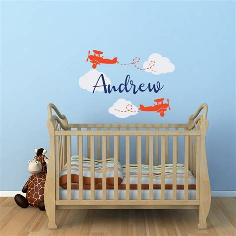 In this a large silhouette of a biplane is flying on in this airplane name wall decal, there is nothing more beautiful than the love of a child and this nursery room decor can tell your son how much you. Airplane Wall Decal Personalized Boys Name Airplane ...