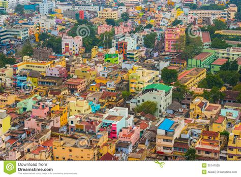 colorful homes  crowded indian city stock photo image