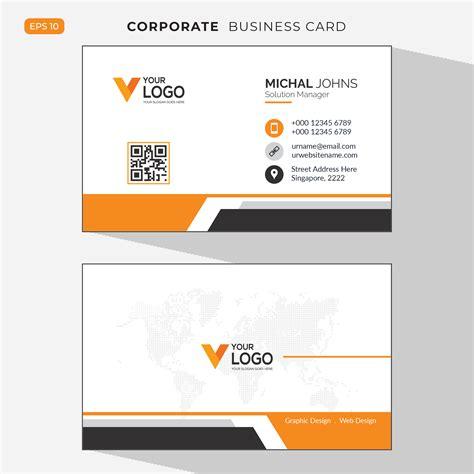 orange elegant corporate business card