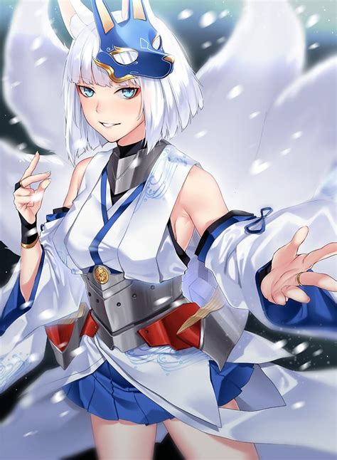 fox girl kaga aircraft carrier azur lane mobile