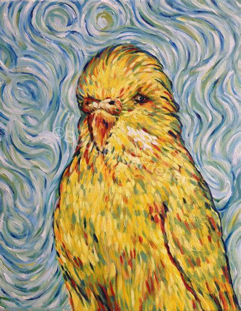 Van Gogh Budgie Budgerigar Parakeet Blank Greeting