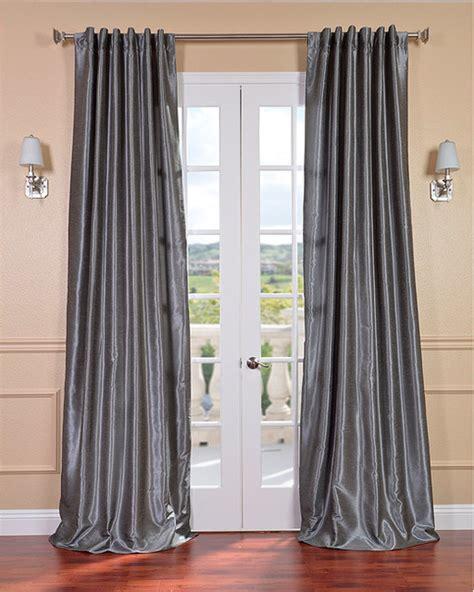 grey vintage faux textured dupioni silk curtain