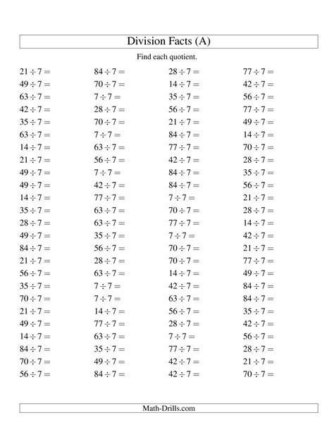 division worksheets year 7 individual division fact 7 a