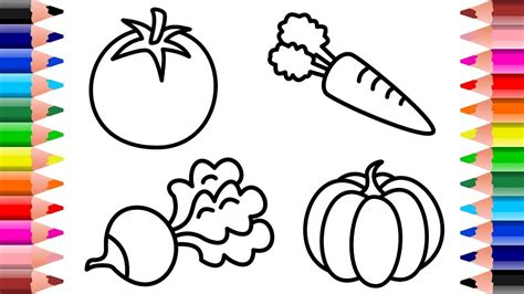 draw vegetables  baby kids learn drawing art