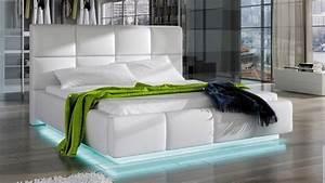 Lit Blanc 160x200 : lit design blanc 160x200 cm avec clairage led winston gdegdesign ~ Teatrodelosmanantiales.com Idées de Décoration
