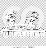 Tub Clip Cartoon Couple Outline Illustration Rf Royalty Toonaday sketch template