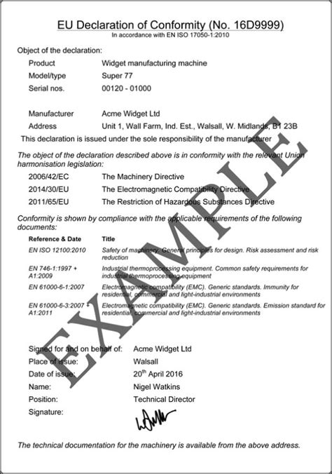 ce self certification template ce marking declaration of conformity exle templates