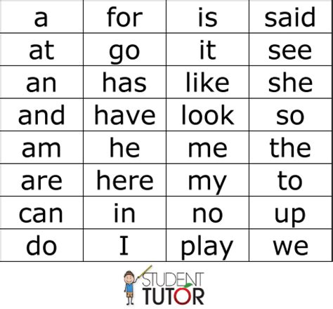 Kindergarten Sight Words
