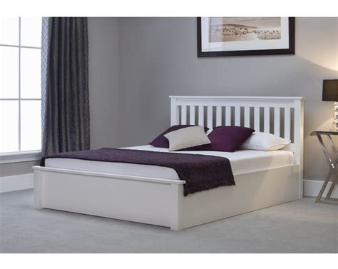 White Ottoman Bed Small by Emporia Freya 4ft6 White Wooden Ottoman Bed By