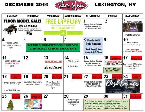 lexington december calendar willis