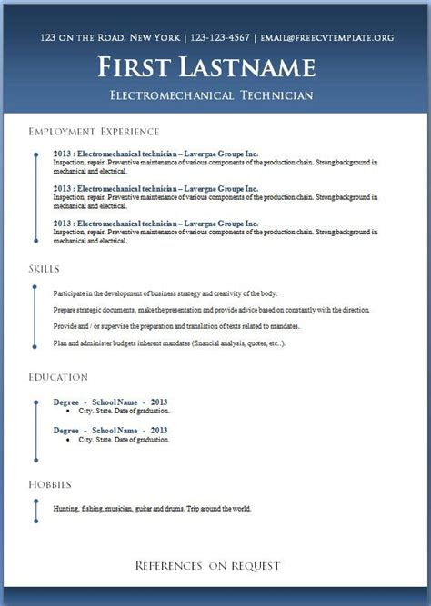 Microsoft Word Free Resume Templates by 50 Free Microsoft Word Resume Templates For