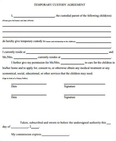 temporary custody sle temporary custody form 7 exles in word pdf