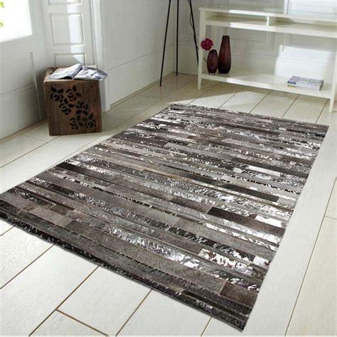 grand tapis cuir gris argent 160x230cm monbeautapis