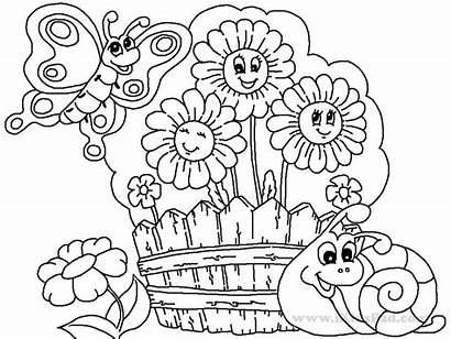 Coloring Garden Pages Flower Drawing Printable Simple