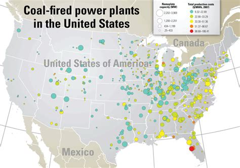 map  coal fired power plants   united states