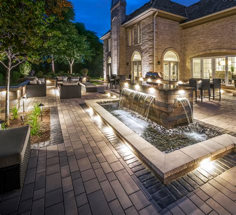 unilock locations unilock artline town paver patio with lineo wall