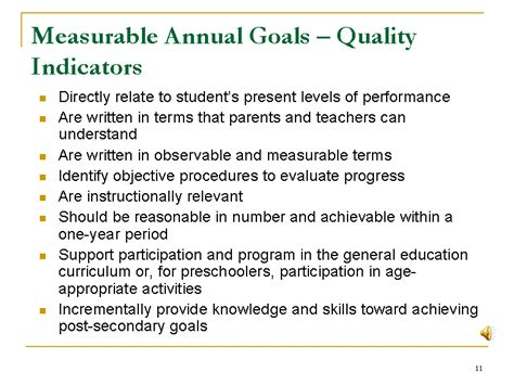 measurable annual goals quality indicators