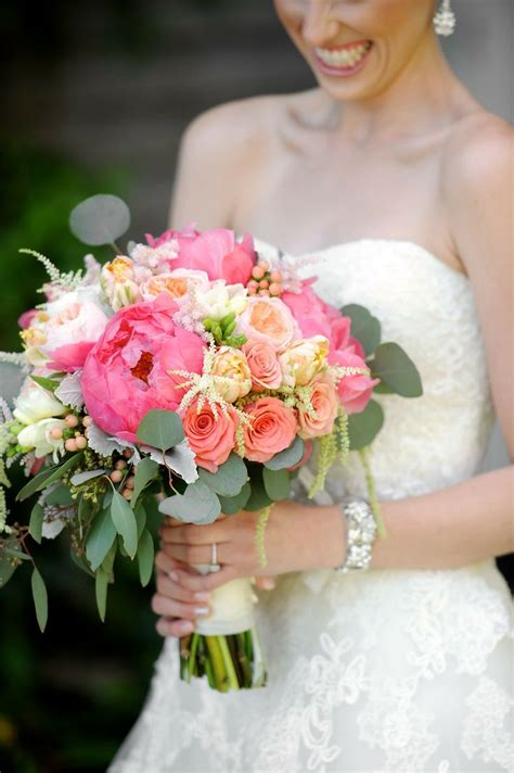 Coral Peony Bridal Bouquet Coral Peach Ivory Green