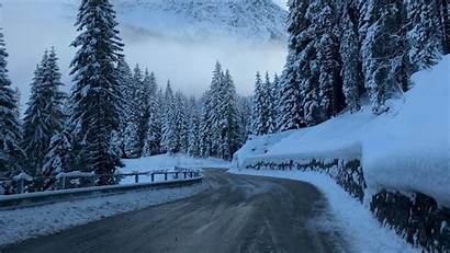 Snow Winter Road Mountains Trees 1080p Background
