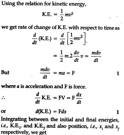 prove work energy theorem for a variable force cbse class 11 physics learn cbse