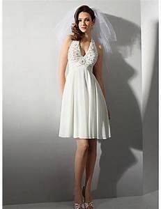free shipping halter lace short chiffon beach wedding With casual short wedding dresses