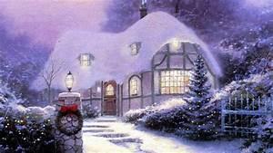 1920x1080 Tree, Thomas Kinkade, Christmas Cottage 1990 ...