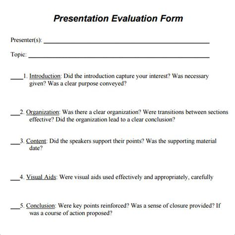 Presenter Evaluation Form Template by 7 Sle Presentation Evaluations Pdf Sle Templates