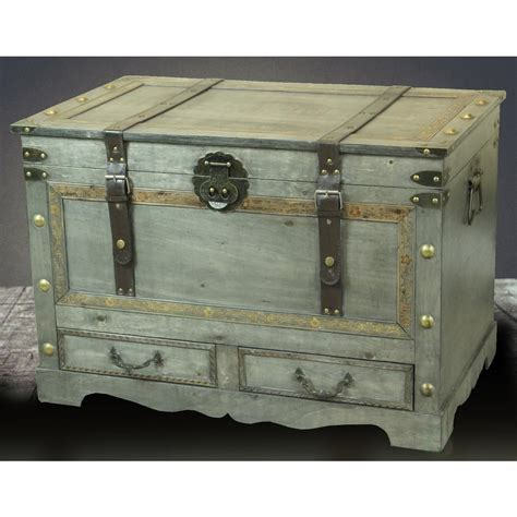 They can have open storage or actual. Vintiquewise Rustic Gray Large Wooden Storage Trunk Coffee Table with 2-Drawers QI003271L in ...