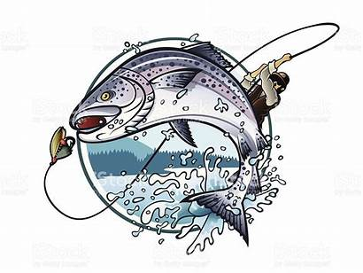 Fishing Salmon Vector Fish Fisherman Clipart Rod