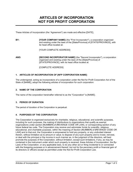 articles of organization template articles of incorporation not for profit organization template sle form biztree