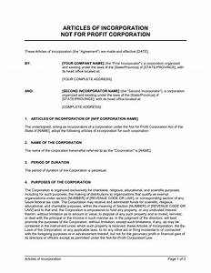 articles of incorporation not for profit organization With articles of partnership template