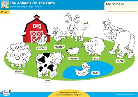 animals   farm worksheet color  animals