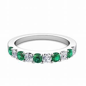 pave diamond and emerald wedding anniversary ring band in With emerald wedding band rings