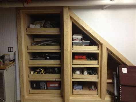 When located near the entryway to the home, cabinets can be used to store shoes or jackets in an easily accessible area. Under Stairs Storage - by Woodwrestler @ LumberJocks.com ...