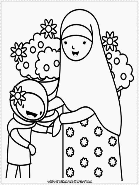contoh gambar mewarnai anak muslim