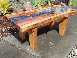 Glowing River Redwood Slab Coffee Table - by Napaman