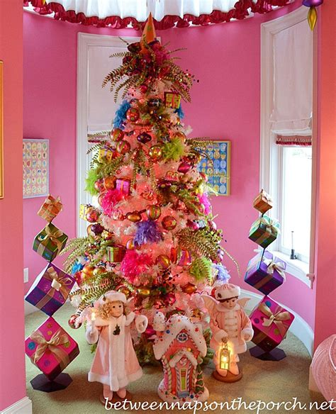 girls pink bedroom decorated  christmas