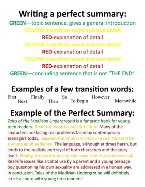 how to write a detailed yet concise summary of an article