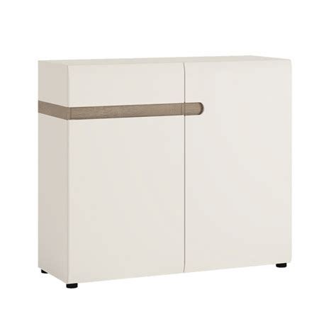 White Gloss And Oak Sideboard by Mode Sideboard White Gloss Truffle Oak 2 Door 1 Drawer